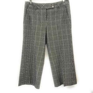 WHBM Womens Cropped Flare Capri Plaid Pants, 4